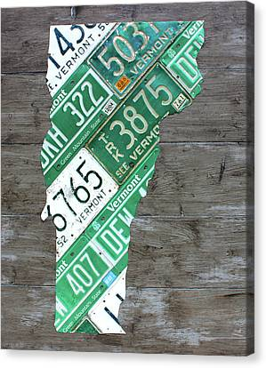 Vermont License Plate Map Art Edition 2017 Canvas Print by Design Turnpike