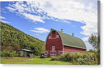 Vermont Red Barn Route 5 Canvas Print by Edward Fielding