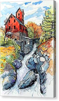 Canvas Print featuring the painting Vermont Red by Terry Banderas