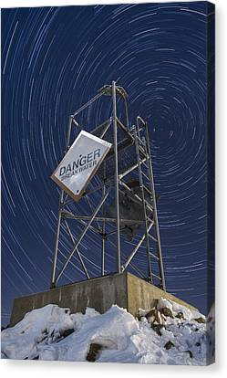 Vermont-star Trails-tower-night-winter Canvas Print by Andy Gimino
