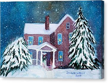 Vermont Studio Center In Winter Canvas Print by Donna Walsh