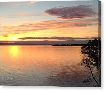 Canvas Print featuring the photograph Vermont Sunset, Lake Champlain by Felipe Adan Lerma