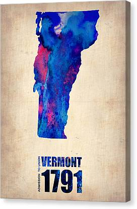 Vermont Watercolor Map Canvas Print by Naxart Studio