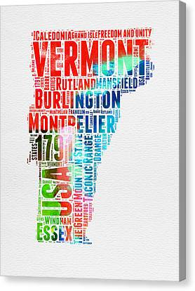 Vermont Watercolor Word Cloud  Canvas Print
