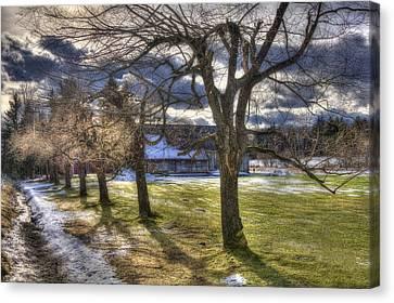 Vermont Winter Barn - Stowe Canvas Print by Joann Vitali