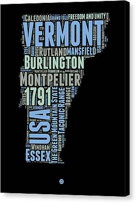 Vermont Word Cloud 1 Canvas Print by Naxart Studio