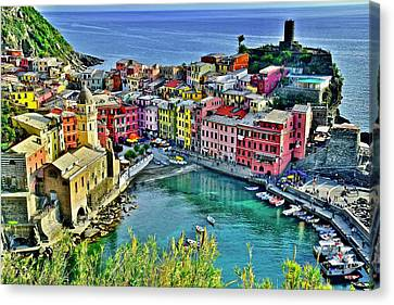 Blue Hour Canvas Print - Vernazza Alight by Frozen in Time Fine Art Photography