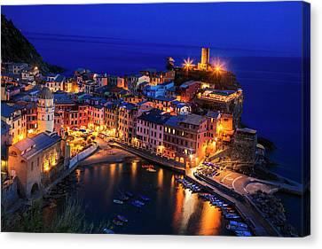 Vernazza Canvas Print - Vernazza At Twilight by Andrew Soundarajan