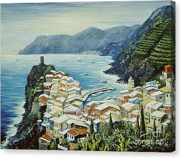 Port Canvas Print - Vernazza Cinque Terre Italy by Marilyn Dunlap