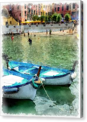 Row Boat Canvas Print - Vernazza Harbor Cinque Terre Italy by Edward Fielding