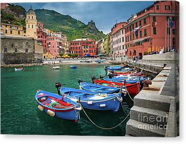 Port Town Canvas Print - Vernazza Harbor by Inge Johnsson