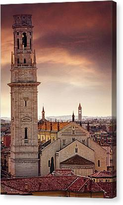 Campanile Canvas Print - Verona Cathedral From St Peter's Hill  by Carol Japp