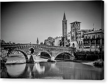 Verona Ponte Pietra, Torre Di Alberto And Sant'anastasia - Monochrome Canvas Print by Melanie Viola