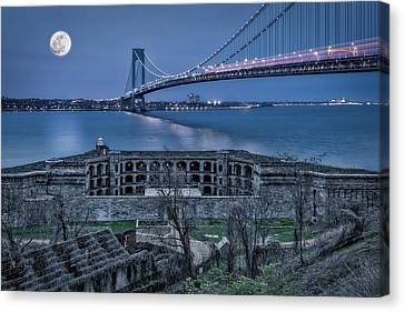 Canvas Print featuring the photograph Verrazano Narrows Bridge Full Moon by Susan Candelario