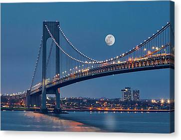Brooklyn Bridge Canvas Print - Verrazano Narrows Bridge Moon by Susan Candelario