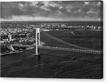 Verrazano Narrows Bridge Nyc Bw Canvas Print by Susan Candelario