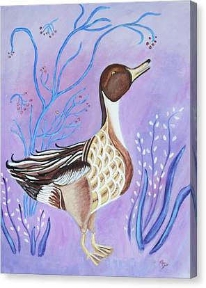 Version Of A Pintail Canvas Print by Belinda Lawson