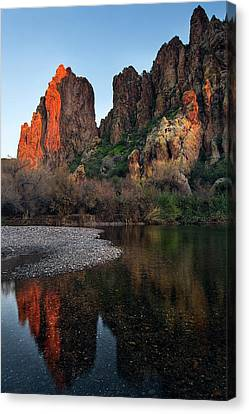 Canvas Print featuring the photograph Vertical Cliffs Reflected In The Salt River At Sunset by Dave Dilli