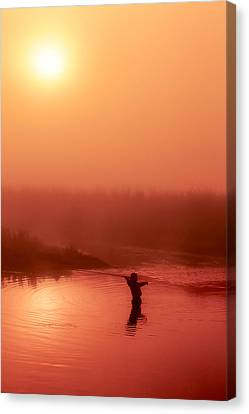 Vertical Fly Fishing Silhouette Canvas Print by Todd Klassy