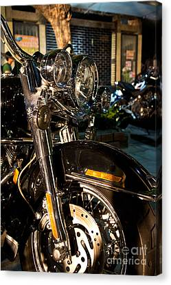 Vertical Front View Of Fat Cruiser Motorcycle With Chrome Fork A Canvas Print