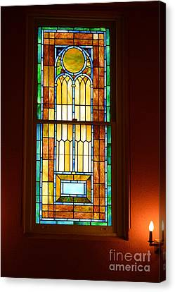 Vertical Stained Glass At The Sixth And I Temple Washington Canvas Print