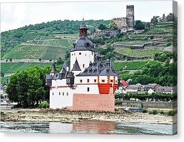 Vertical Vineyards And Buildings On The Rhine Canvas Print by Kirsten Giving