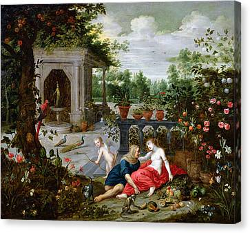Vertumnus And Pomona Canvas Print by Hendrik van the Elder Balen
