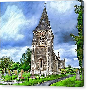 Canvas Print featuring the digital art Very Old Church by Pennie  McCracken