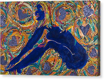 Canvas Print featuring the tapestry - textile Vesica  Pisces by Apanaki Temitayo M