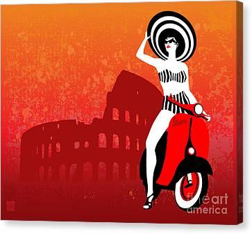 Canvas Print - Vespa Girl by Sassan Filsoof