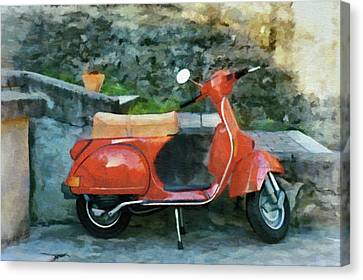 Italian Canvas Print - Vespa Parked by Jeffrey Kolker