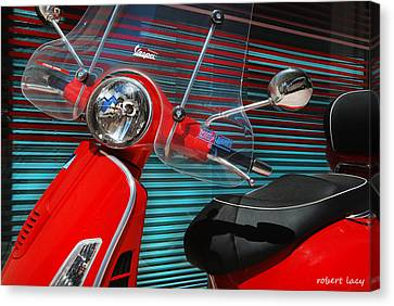 Venetian Blinds Canvas Print - Vespa by Robert Lacy
