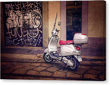 Scenes Of Italy Canvas Print - Vespa Scooter In Milan Italy  by Carol Japp
