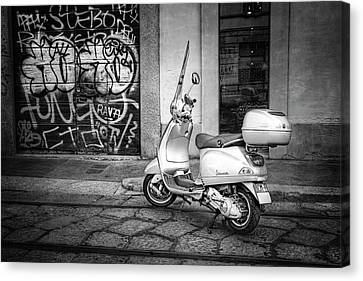 Canvas Print featuring the photograph Vespa Scooter In Milan Italy In Black And White  by Carol Japp