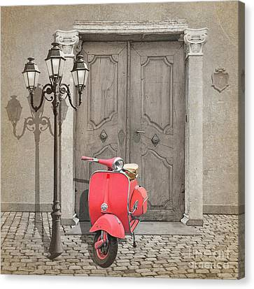 Vespa Scooter With Pink Colorkey Canvas Print by Monika Juengling
