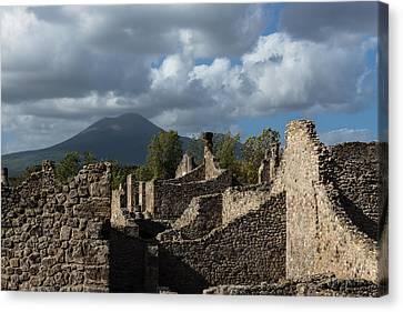 Turbulent Skies Canvas Print - Vesuvius Volcano Towering Over The Pompeii Ruins by Georgia Mizuleva
