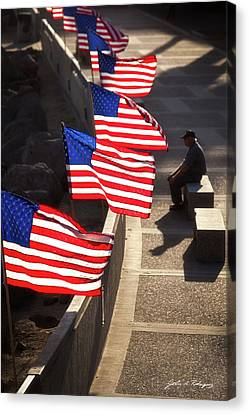 Veteran With Our Nations Flags Canvas Print