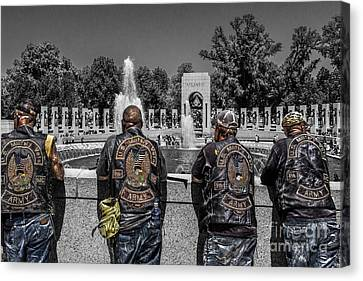 Veterans At The Wwii Memorial Canvas Print by Tom Gari Gallery-Three-Photography