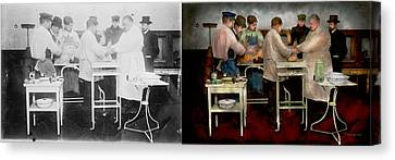 Veterinarian - Saving My Best Friend 1900s - Side By Sdie Canvas Print by Mike Savad
