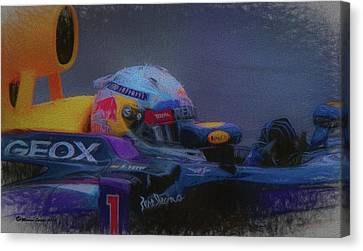 Vettel And Redbull Canvas Print by Marvin Spates