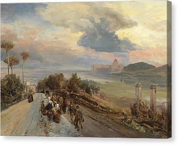 Via Cassia In Rome Canvas Print by Oswald Achenbach
