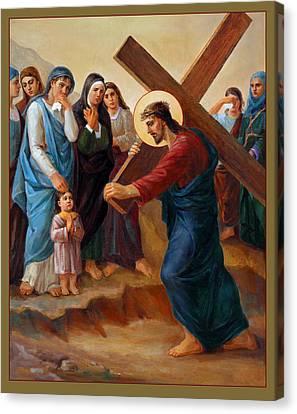 Canvas Print featuring the painting Via Dolorosa - Daughters Of Jerusalem - 8 by Svitozar Nenyuk