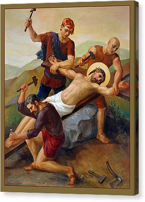 Canvas Print featuring the painting Via Dolorosa - Jesus Is Nailed To The Cross - 11 by Svitozar Nenyuk