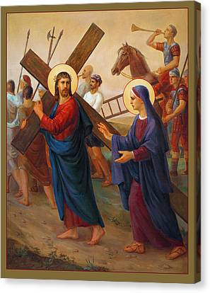 Mary Canvas Print - Via Dolorosa - The Way Of The Cross - 4 by Svitozar Nenyuk