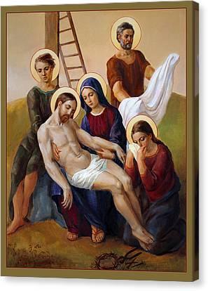 Canvas Print featuring the painting Via Dolorosa - Way Of The Cross - 13 by Svitozar Nenyuk