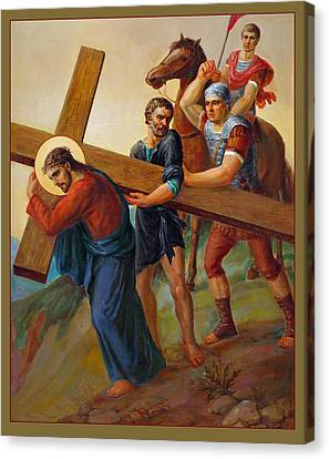 Canvas Print featuring the painting Via Dolorosa - Way Of The Cross - 5 by Svitozar Nenyuk