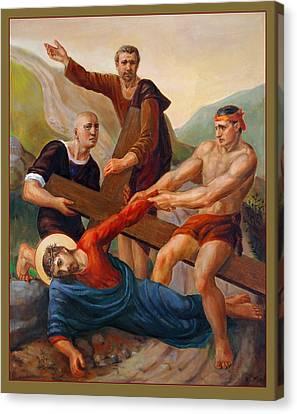 Canvas Print featuring the painting Via Dolorosa - Way Of The Cross - 9 by Svitozar Nenyuk