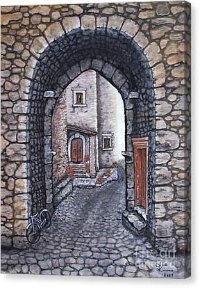 Via In Santo Stefano Canvas Print by Judy Kirouac