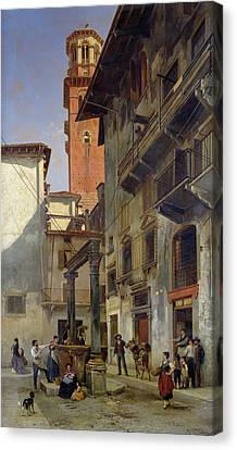 Italian Street Canvas Print - Via Mazzanti In Verona by Jacques Carabain