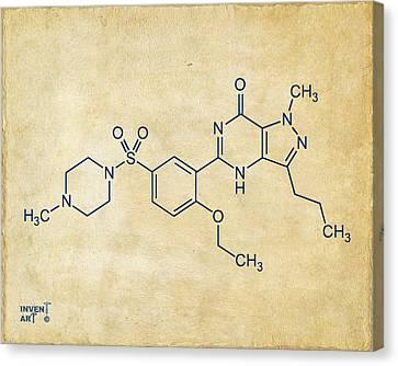 Viagra Molecular Structure Vintage Canvas Print by Nikki Marie Smith